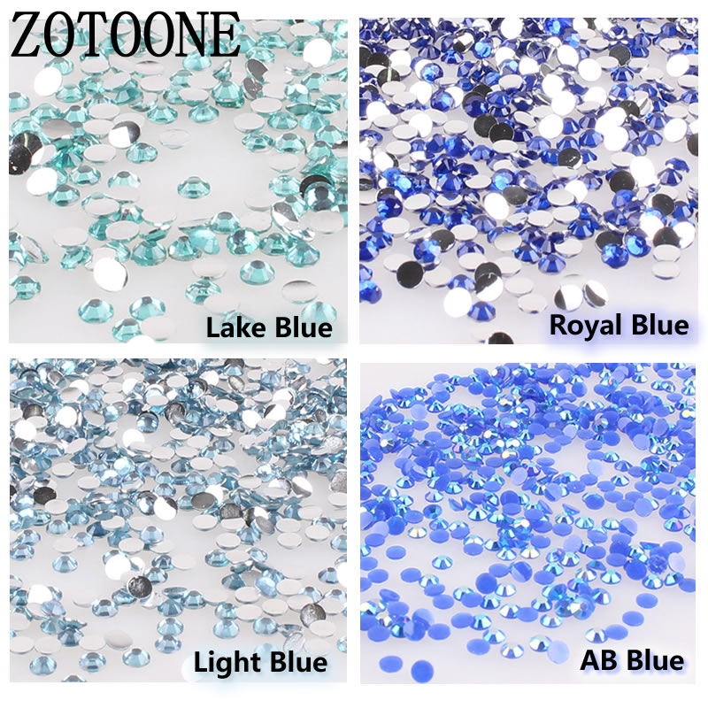 ZOTOONE 1000PCS/lot Rhinestones 3-5MM Blue Crystals AB Stones Non Hotfix Back Iron on Na ...