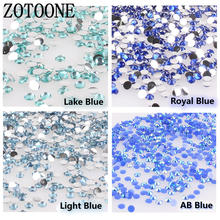 ZOTOONE 1000PCS/lot Rhinestones 3-5MM Blue Crystals AB Stones Non Hotfix Back Iron on Nails Art Decorations for Clothes Shose C(China)