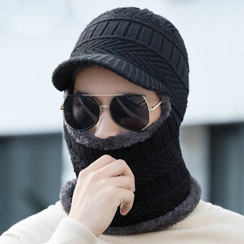 oZyc Winter Hat Skullies Beanies Men Women Knitted Hat Scarf Winter Caps Mask Balaclava Bonnet Cap Wool Fur Beanies Hats