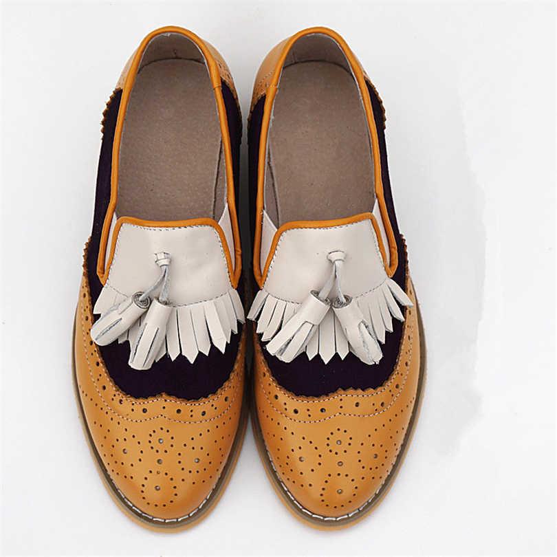 Phụ Nữ Oxford Độn Da Thật Chính Hãng Da Cho Nữ Dành Cho Người Phụ Nữ Giày Nữ Oxfords Nữ Tua Rua Đơn 2019 Giày Mùa Hè