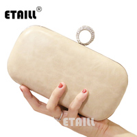 ETAILL Simple Style Designer Women Day Clutch 2017 PU Leather Crossbody Bags White Apricot Small Ring