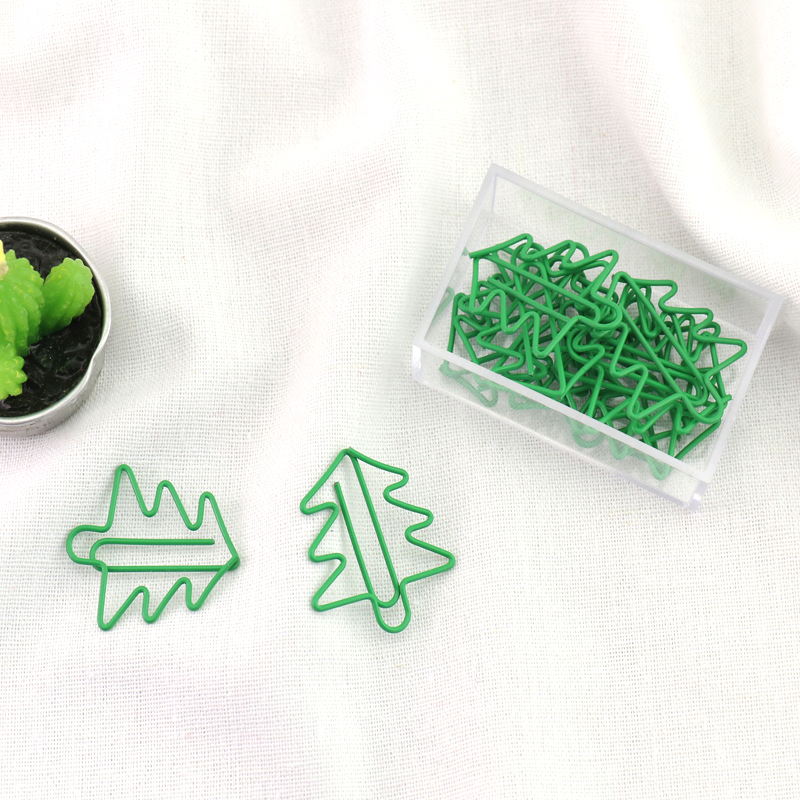 TUTU Free Shipping Office Accessories Green Metal Christmas Tree Paper Clip Bookmark Book Mark Cute Paper Clip H0148