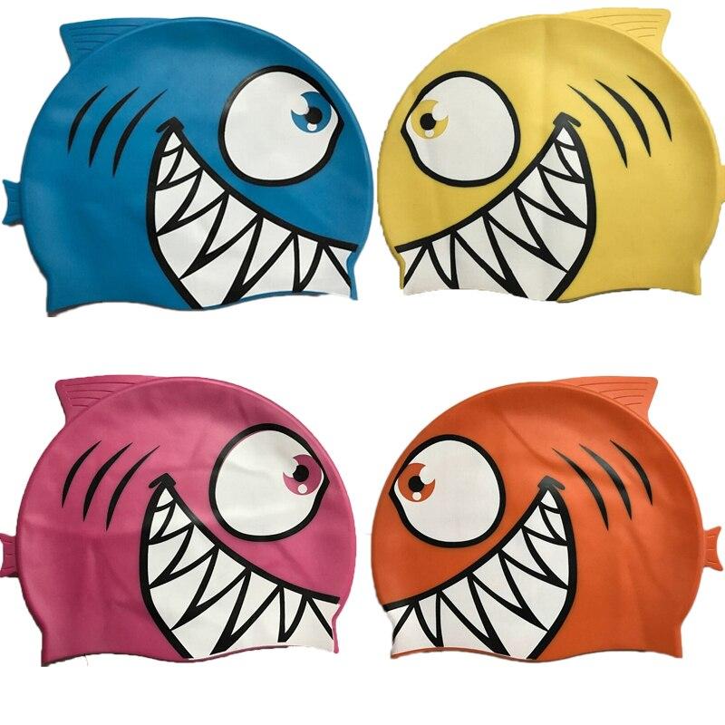 Child Kids Silicone Swimming Cap Cartoon Shark Elastic Swim Pool Cap Comfortable High Quality Bathing Hats For Boys Girls Babies 1