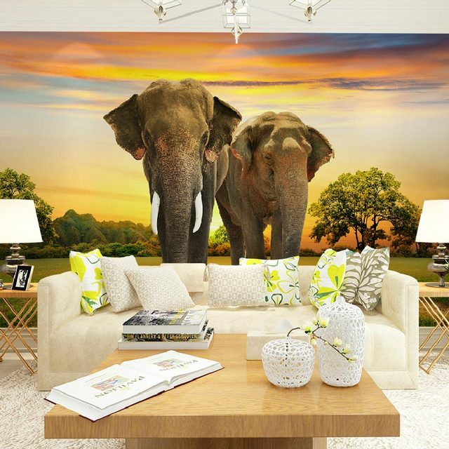 Home Decor Wall Papers 3D Nature Elephant Photo Wallpaper Murals ...