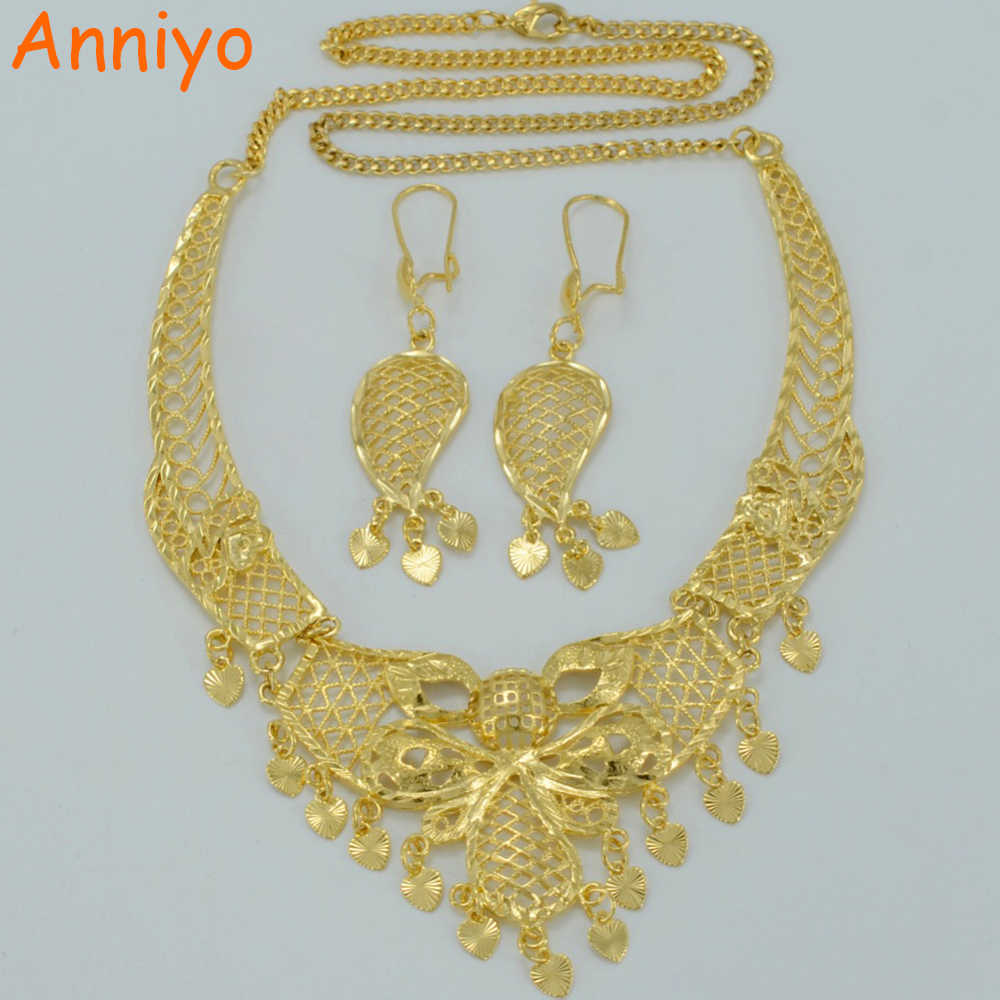 Anniyo Arab Jewelry sets Necklace Earrings Gold Color Wedding Gift Ethiopian Bride Best Items Middle East sets #007812