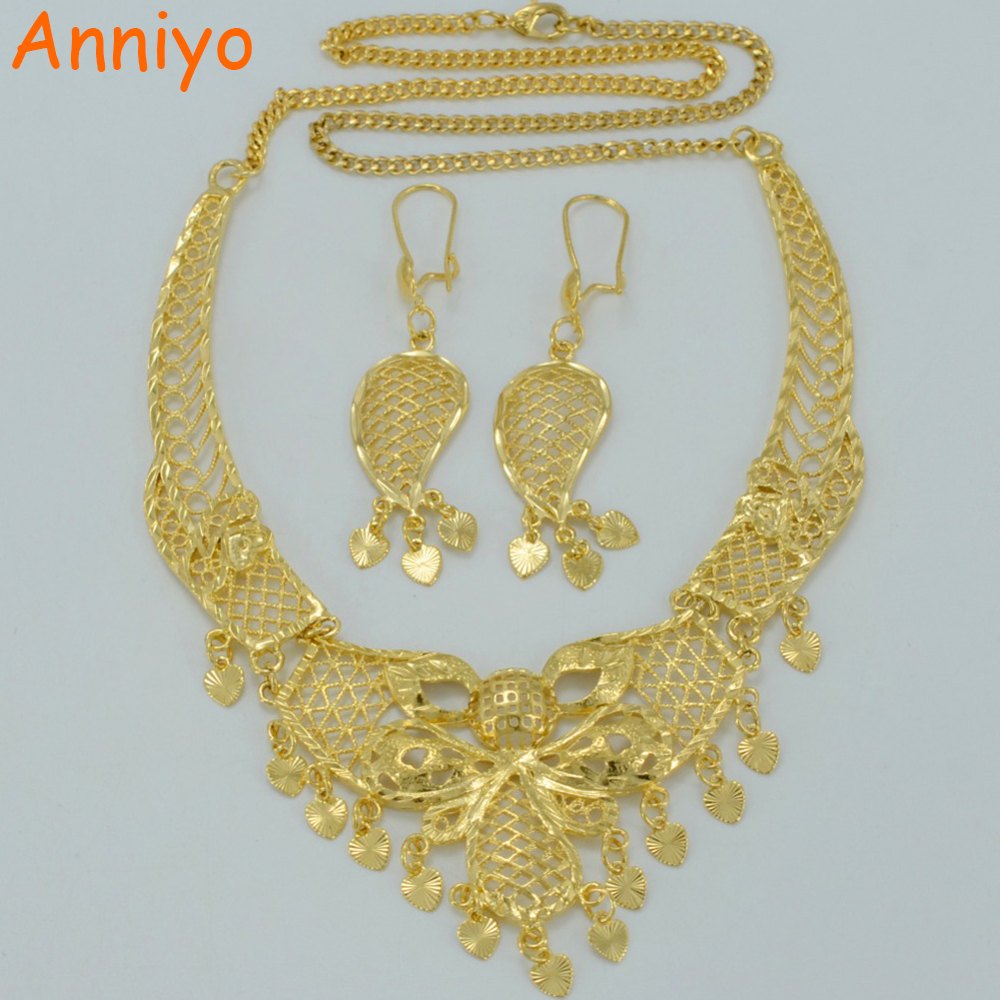 Arab Jewelry sets Necklace Earrings 18K Gold Plated Wedding Gift Ethiopian Bride Best Items Middle East sets Jewellery #007812 necklace
