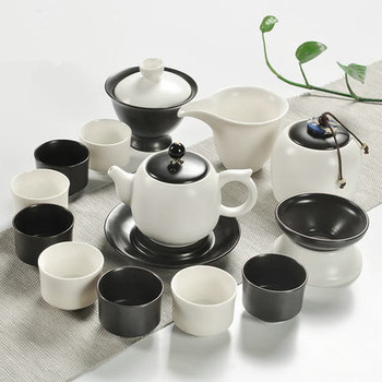 Ceramic Kung Fu tea sets the whole set of kiln black and white teapot creative Japanese simple cups covered pots