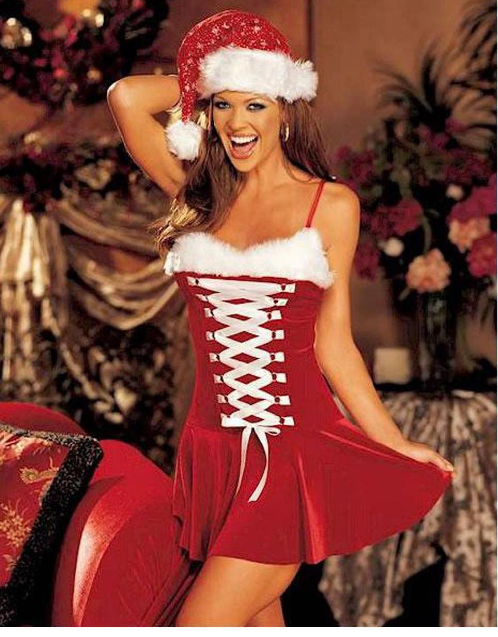 얼룩이 진 여자와 섹시한 크리스마스 드레스 모피 - 캐릭터의상