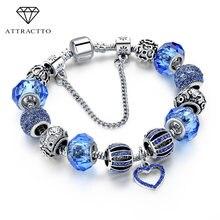 Женский браслет attrattto серебряный с очаровательным голубым