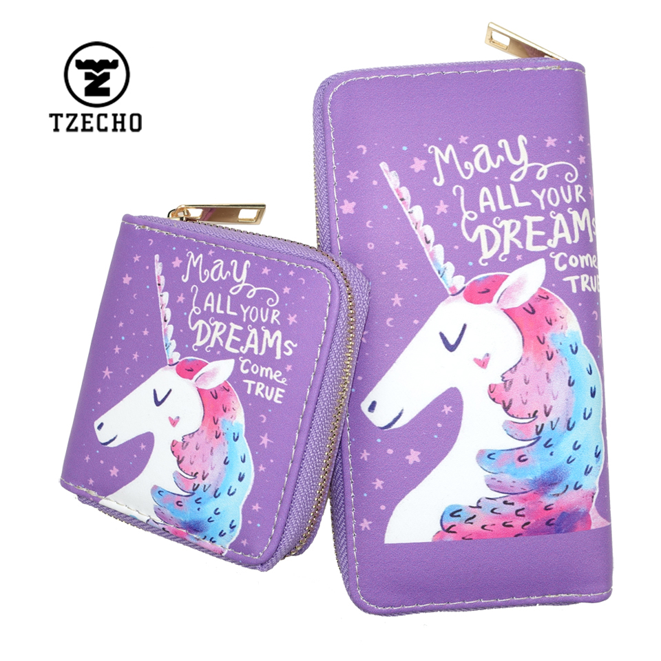 TZECHO Zipper Wallets For Women With Phone PU Cartoon Unicorn Clutch Purses Small Credit Cards Holder Long Ladies Mini Wallets tzecho women wallets long zipper wallet for women with phone pu walet skull head ladies clutch purses rfid credit cards holder