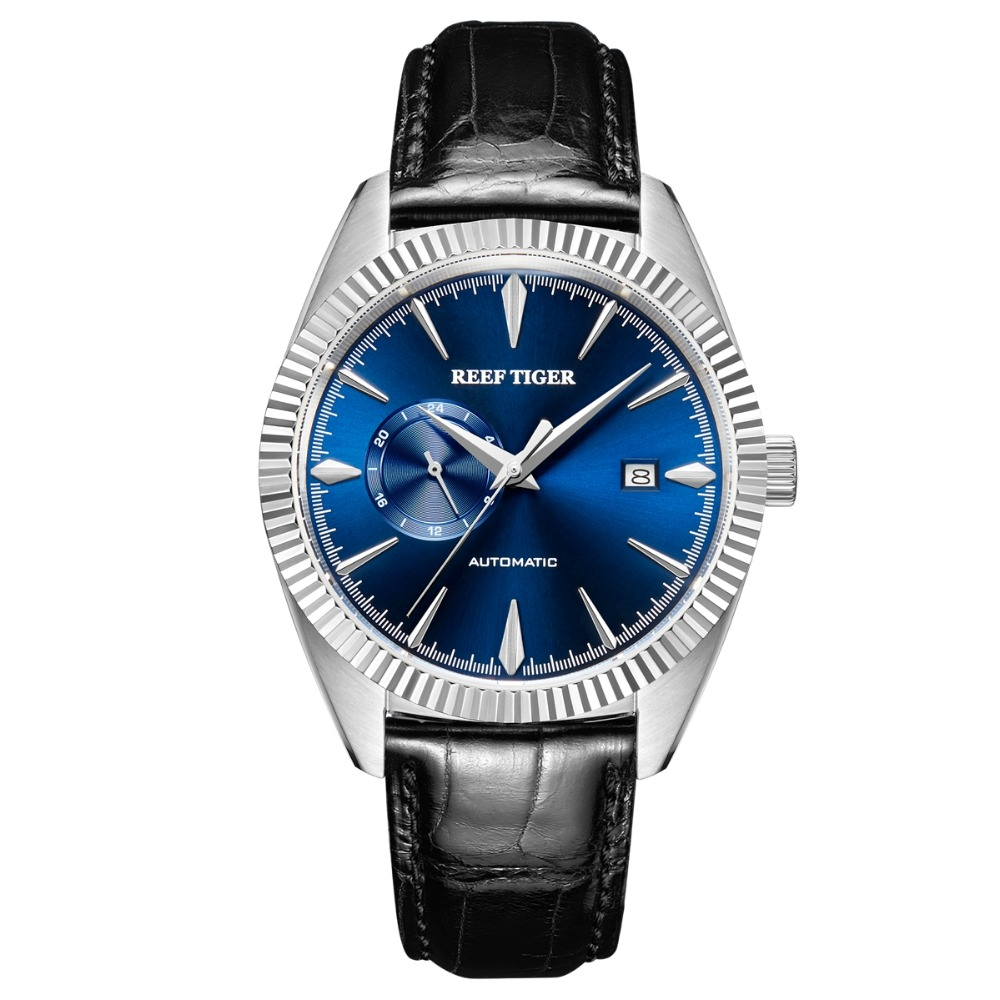Business-Dress Mechanical Reef Tiger Watch-Silver Calfskin-Strap Classic Self-Wind Men Fashion