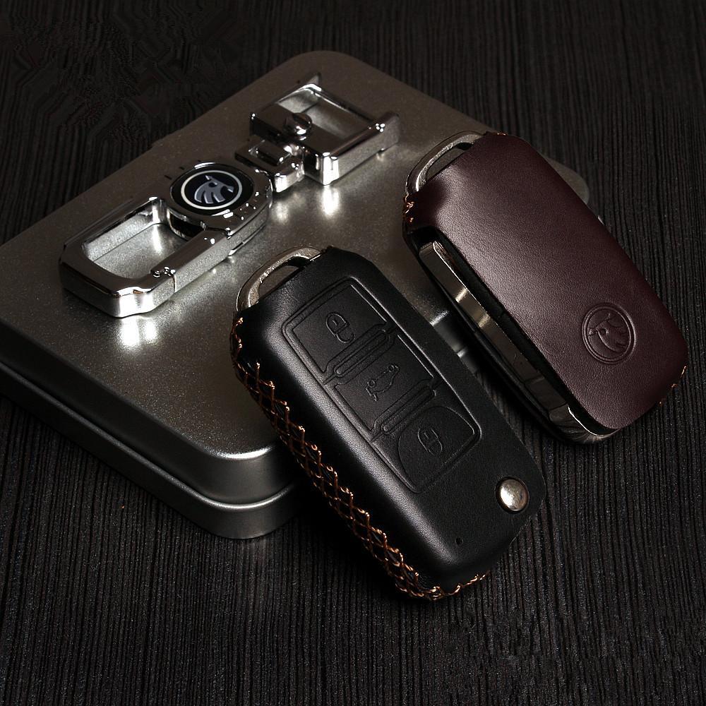 2015 New Arrive Dedicated for Skoda Octavia Superb Fabia Auto Genuine Leather Key Case Folding Key Modified decoration Bags