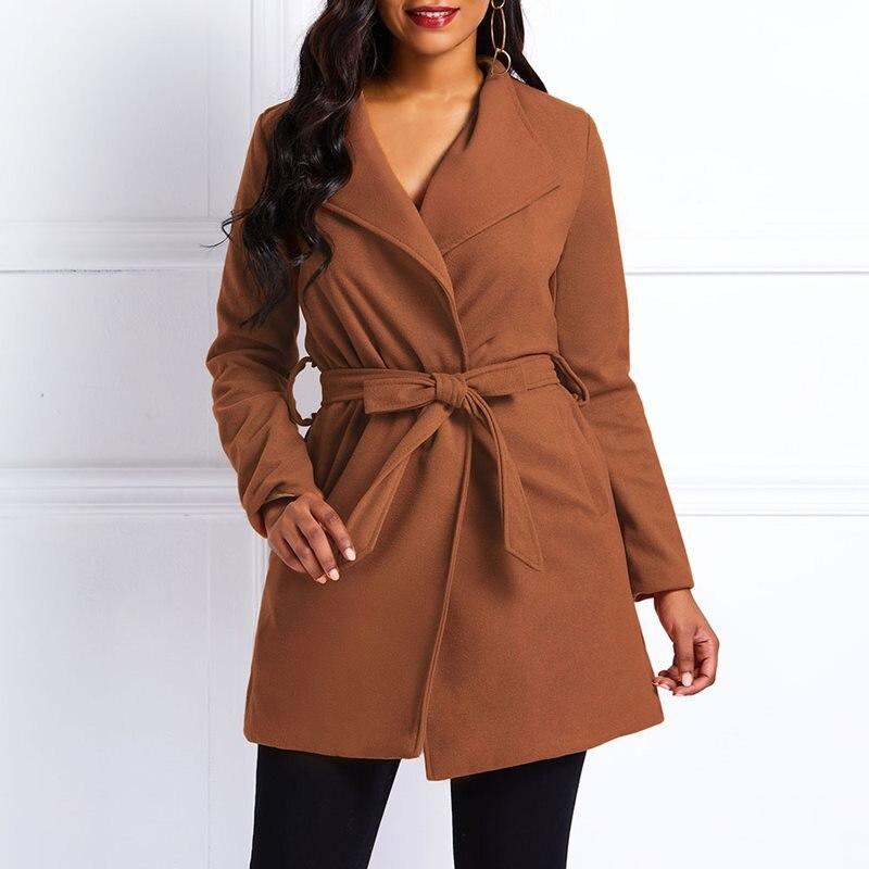 Coats Female Vintage Autumn Plus-Size Fashion Women Ladies Straight Elegant Green Casual