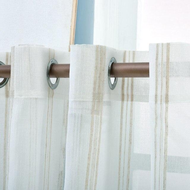 Gestreift Weiß Tüll Vorhänge White Fenster Garn Vorhänge Wohnzimmer Gardinen  Weiße Kurze Küche Tür Vorhänge Panel