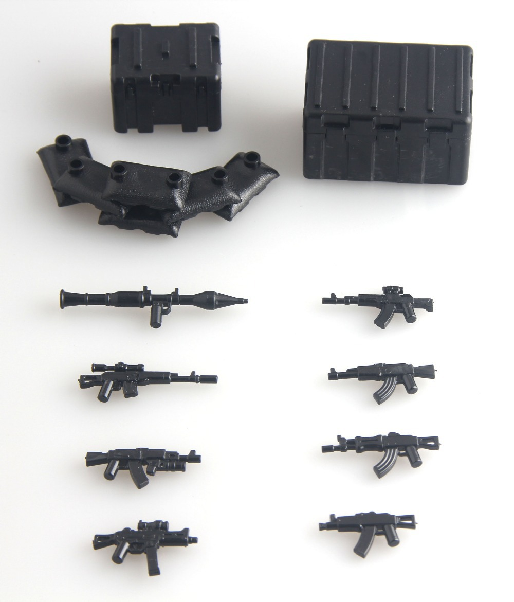 2015 new Military Series Custom swat police AK GUN weapons pack army weapon Brick Arms Weapon Pack For City Police