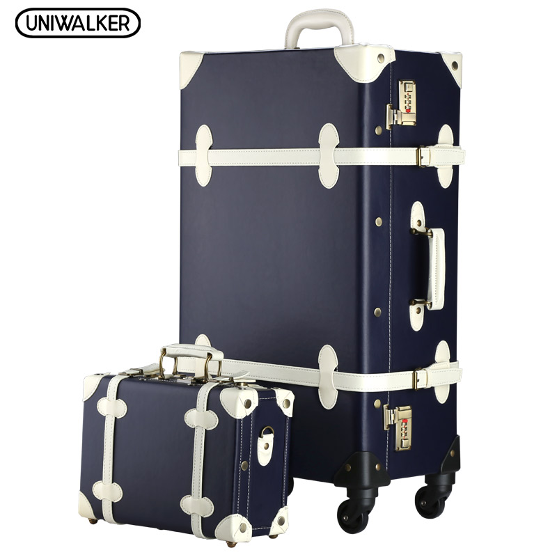 2PCS/SET Vintage PU Travel Luggage,12 20 22 24 26 Retro Trolley Suitcase Bags With Spinner Wheel With Combination Lock 12 20 22 24 26 gray retro trolley suitcase bags 2pcs set vintage travel trolley luggage with spinner wheels with tsa lock