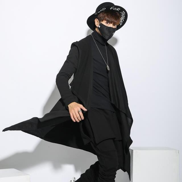 Men's Windbreaker Long Coat Punk Hiphop Style Cardigan Hooded Trench Jacket High Quality Male Black Cloak Outwear