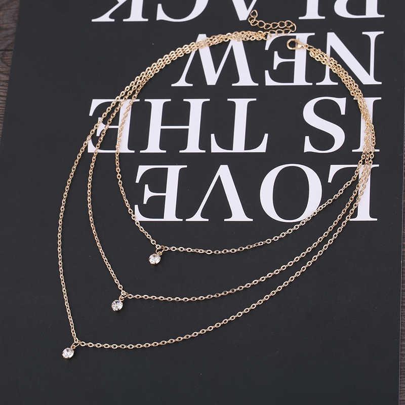 หม้อสุกี้ Multi-layered ยาวสร้อยคอสร้อยคอสร้อยคอ Cubic Zirconia Charms ผู้หญิงทองเครื่องประดับคริสตัลจี้สร้อยคอ