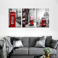 3 Panel Black and White Large HD Printed Painting Red London Bus England City Uk British Vintage Buildings Bedroom decor