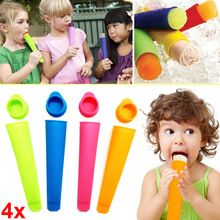 4pcs DIY Popsicle Molds and Ice Pop Silicone Maker with Attached Lids Recipe  KM88