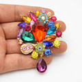 Retail Gold Tone Mixed Color Crystals 3.2 Inch Large Drop Pendent Brooch Hot Selling New Elegant Gift Buckle Pins