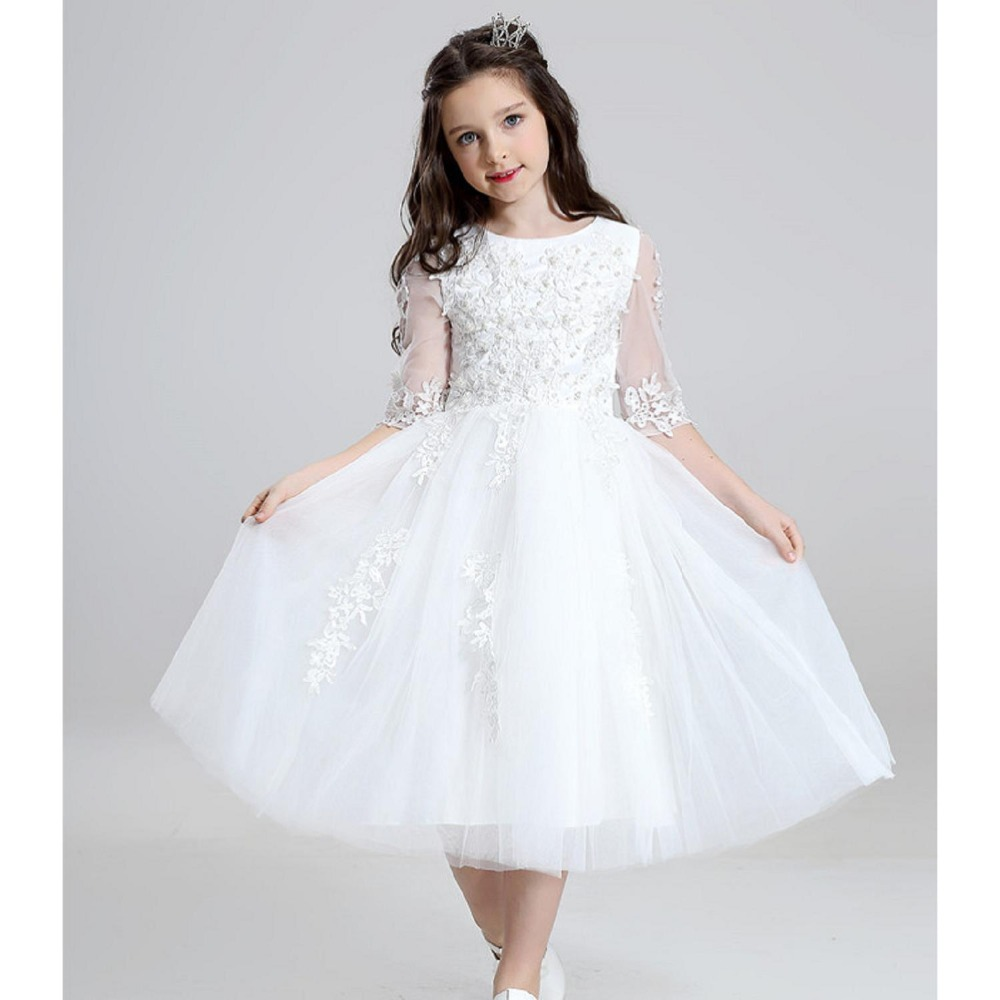 2019 Luxury Ball Gown Zipper Beaded Applique Red White Flower Girl Dresses Tulle Kids First Communion Dress Party Gown