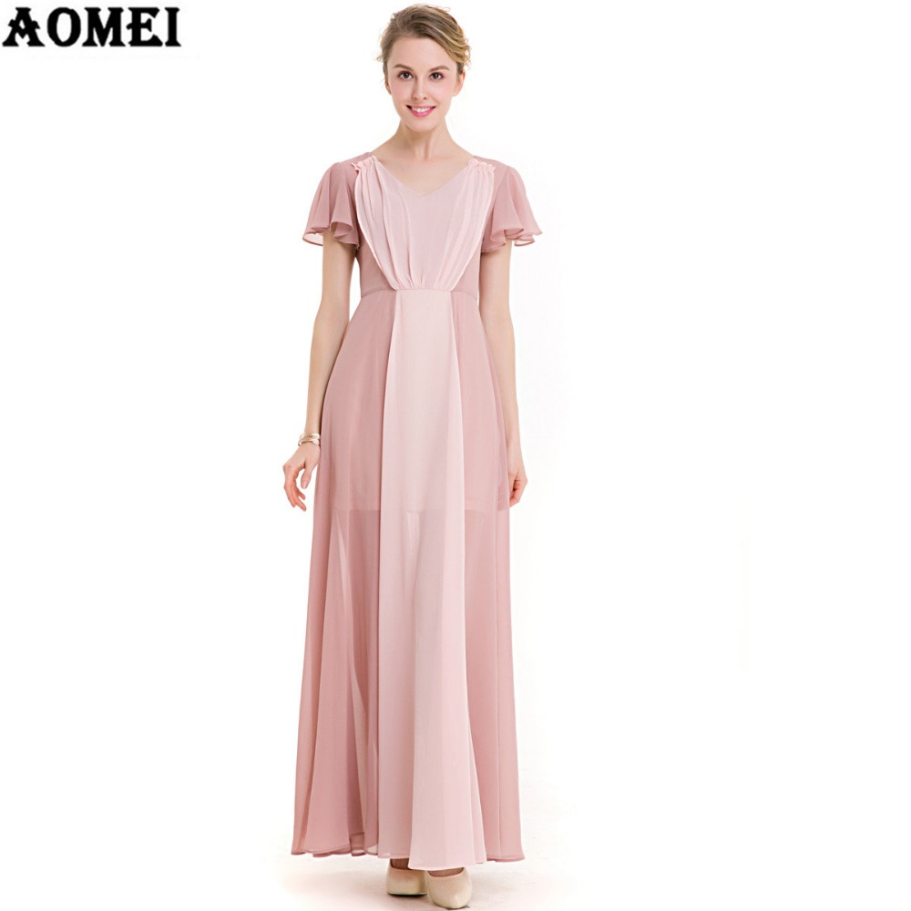Khaki Pink Mixed Color Chiffon Long Dress Summer Beach ...