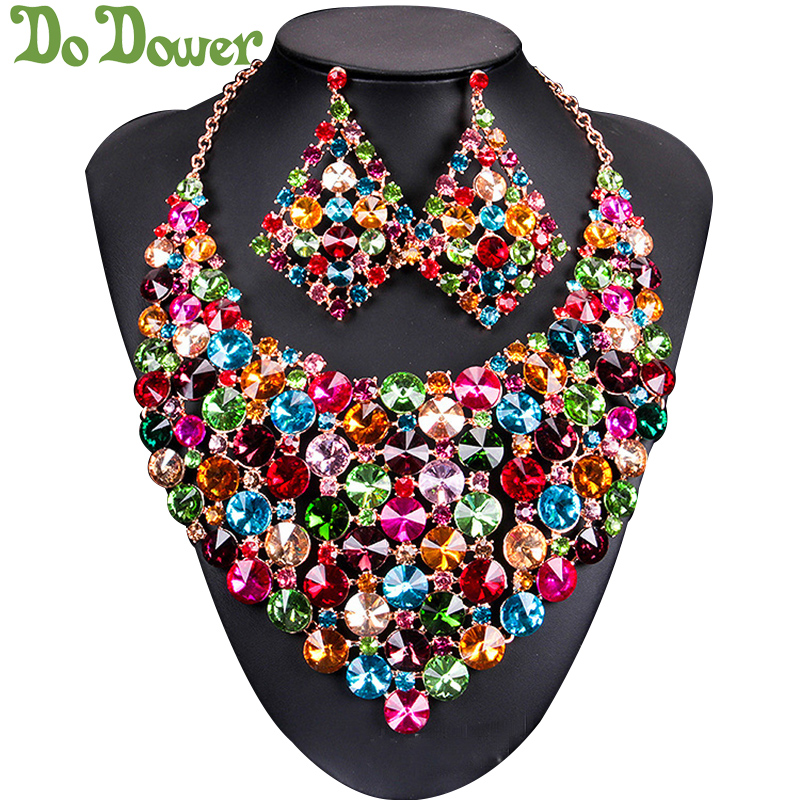 Fashion Wedding Crystal Bridal Jewelry Sets Gifts for Women Accessories Dubai Big Gold Necklace Set Earrings African Jewellery plated gold jewelry sets four leaf clover necklace jewellery set best gifts for friends and lovers