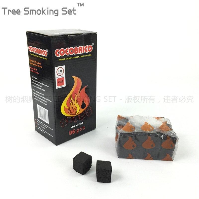 1 boîte 4 petits sacs cocobrico 96 pcscube cube noix de coco charbon narguilé charbon chicha narguilé charbon oduman narguilé nartual