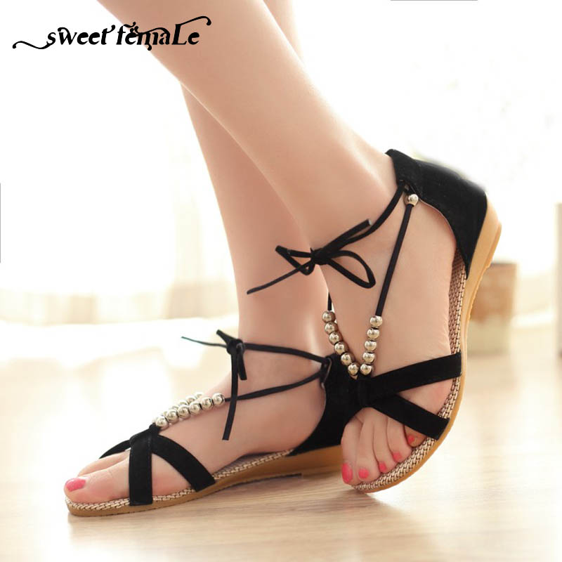 be8742481418 Big size Fashion Summer Suede leather Gladiator Women Sandals Flat Heel  String Bead Shoes Wedges lace-up Black Sweet open-toed
