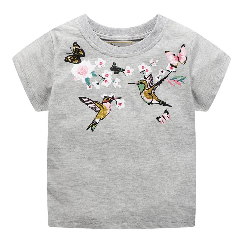 Mädchen Tees & Tops Tiere Mädchen Kleidung Sommer Neue Design Kinder T Shirts Vögel Blumen Kinder Kleidung Floral Mädchen T Shirts Gut FüR Energie Und Die Milz
