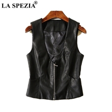 LA SPEZIA Short Vest Women Black Slim Fit Waistcoat Female With Pockets Faux Leather Zipper Office Fashion Sleeveless Jackets