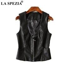 LA SPEZIA Short Vest Women Black Slim Fit Waistcoat Female With Pockets Faux Leather Zipper Office Fashion Sleeveless Jackets