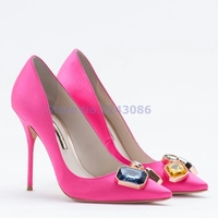 Silk Glittering Jewelry Pointed Toe Thin High Shoes White Black Emerald Green Red Slip On Shallow Bridal Pumps