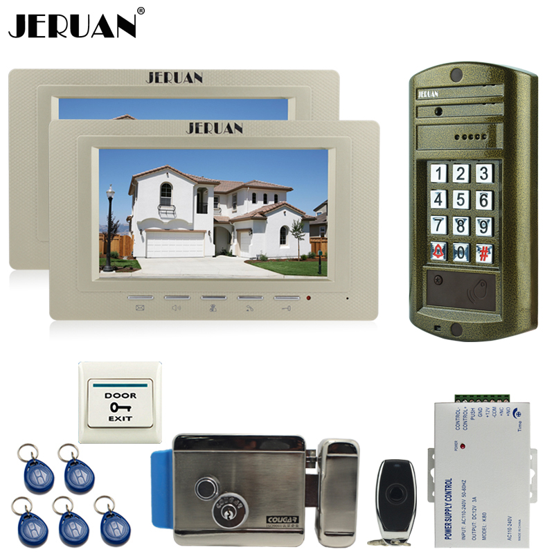 JERUAN 7 inch Video Doorphone Doorbell Intercom System kit 2 Monitor +NEW Metal waterproof password keypad HD IR Mini Camera 1V2 jeruan wired 8 video doorphone record intercom system kit 2 monitor new rfid waterproof touch key password keypad camera 8g sd