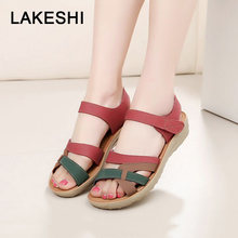 LAKESHI Donna In Morbida Pelle Sandali Estate Sandali Piatti antiscivolo Casual Madre Sandali Peep Toe Beach Flip Flop Delle Donne scarpe(China)