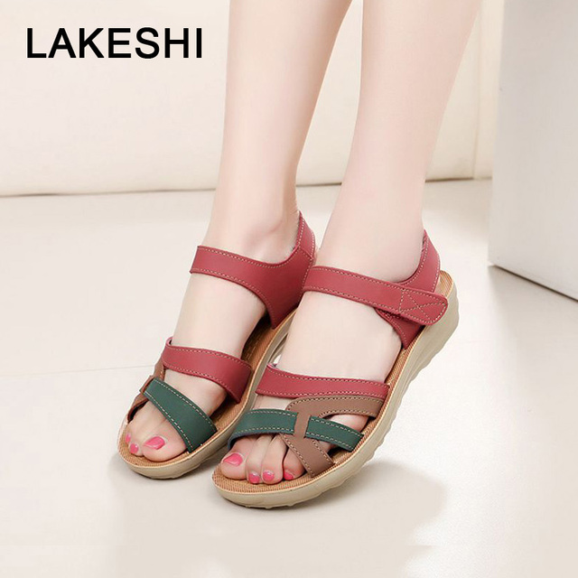 LAKESHI Soft Leather Woman Sandals Summer Flat Sandals non-slip Casual Mother Sandals Peep Toe Beach Flip Flop Women Shoes