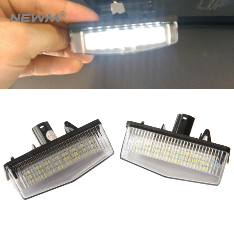 2X High Power Led Car Light White 24 SMD LED License Plate Light Lamp Bulbs For Toyota Prius License Plate Kits Free Shipping