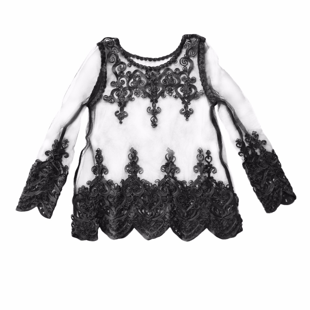 2017 Summer Half Transparent Outfits Tops Lace Cover-ups Trendy Design Women Lace Embroidery Blouse Tops New Style