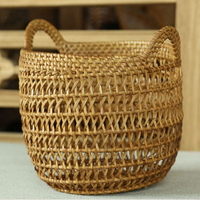Creative decorative Handmade hand natural woven baskets for fruits Toys table Sundries storage basket rattan Organizer & Creative decorative Handmade hand natural woven baskets for fruits ...