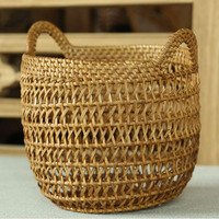 Creative decorative Handmade hand natural woven baskets for fruits Toys table Sundries storage basket rattan Organizer Hamper