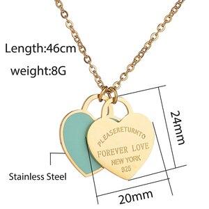 Trendy Herz Halskette & Anhänger Emaille Edelstahl Marke Tiff Design Kette Halskette Farbe Gold Charme Frauen New York Schmuck