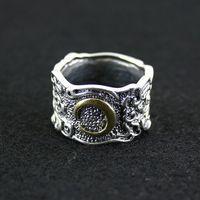 925 saf gümüş yüzük gümüş bakır karışımı maç tay gümüş yüzük erkek kadın bağbozumu parmak yüzük