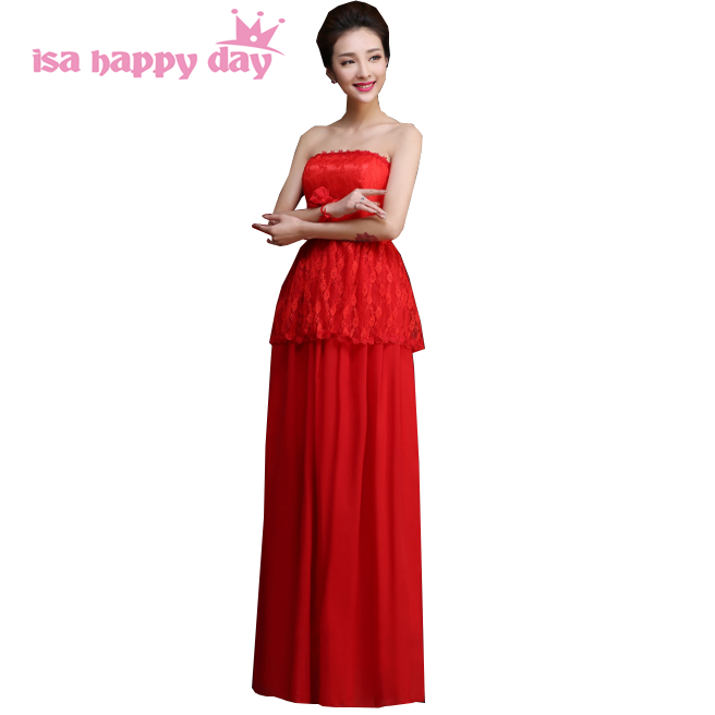 Fashion Beauty Red Bridesmaid Elegant Scoop Dress Bridemaides Womens Brides Maid Long Dresses For Wedding Guests H4234