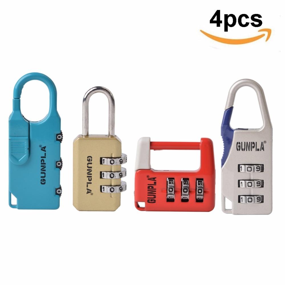 Hardware Gunpla 4pcs/set 3 Digit Security Combination Coded Locks Set Password Padlock For Travel Suitcase Luggage Bag Cabinet Locks Drip-Dry