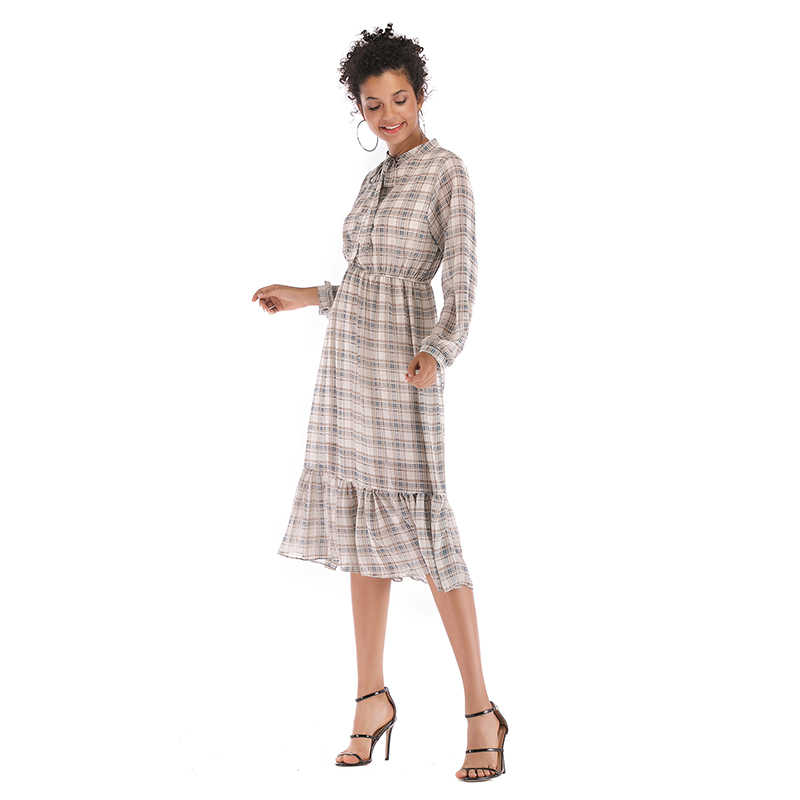 платье женское осень 2019 платья больших размеров шифоновое платье с длинным рукавом свободное клетчатое платье в клетку с бантом модная одежда 5910