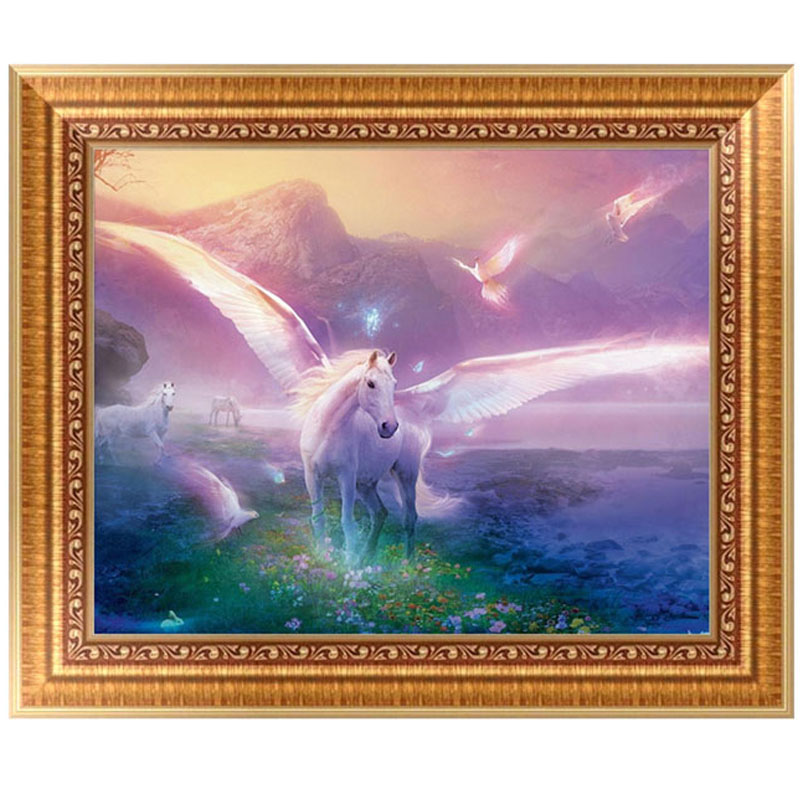 DIY 5D Horse Angel Diamond Embroidery Painting Cross Stitch Craft Home Decor Kit 40*30cm For Promotion