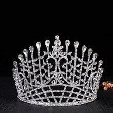 Joyería nupcial del pelo Europeo crystal crown gran joya de cristal corona del rhinestone lleno de lujo nupcial tocado
