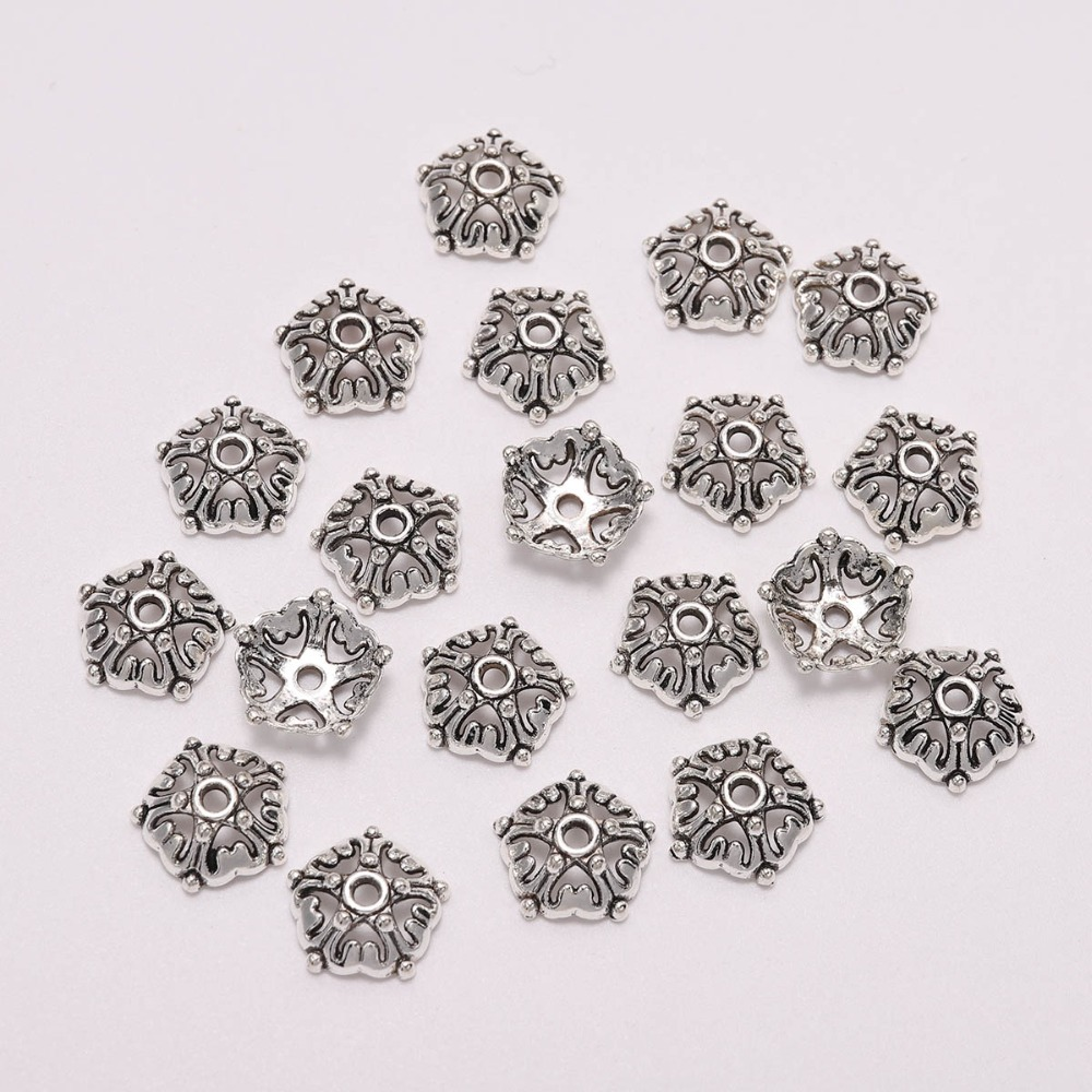 20pcs Lot Antique Silver 12mm Hollow Bead Caps Flower For Jewelry Making Diy Bracelet Necklace Spaced Apart Jewelry Accessories in Jewelry Findings Components from Jewelry Accessories