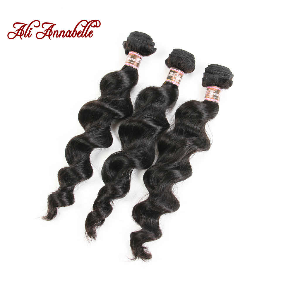 Ali Annabelle Hair Malaysian Loose Wave Bundles With Closure Remy Hair Weave 3 Bundles 100% Human Hair Bundles With Frontal